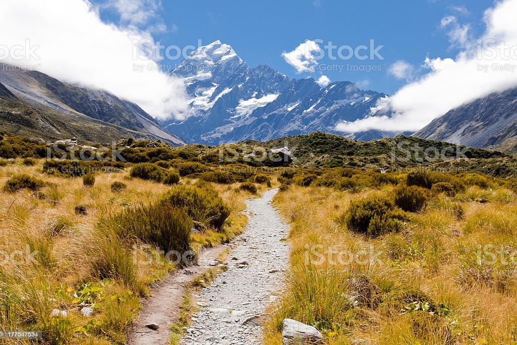 Hooker Valley w Aoraki, Mt Cook, Southern Alps, NZ royalty-free stock photo