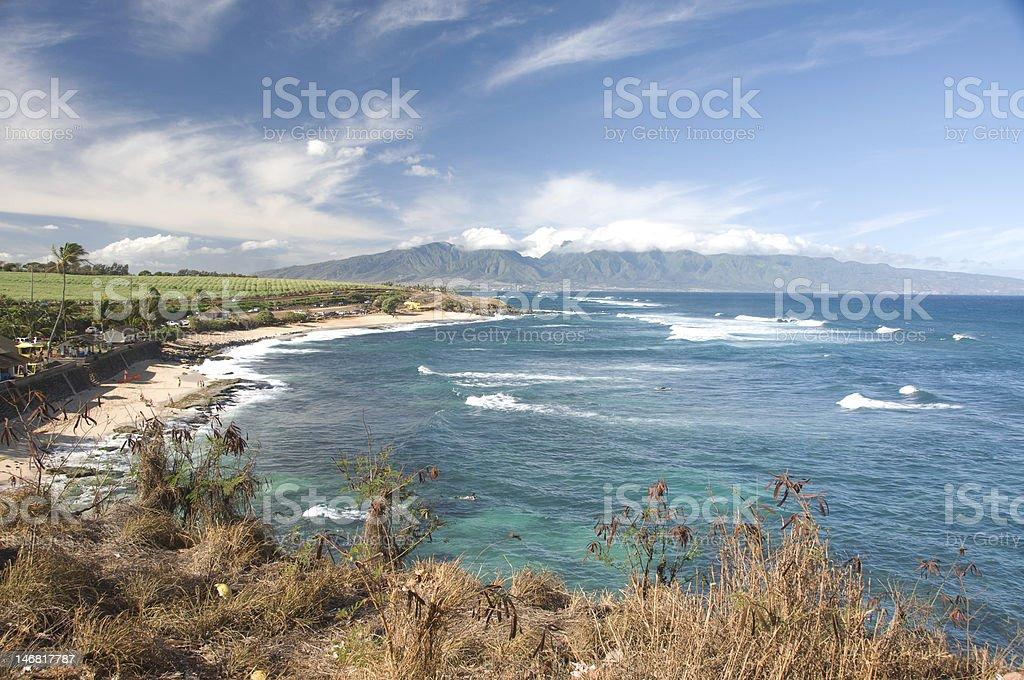 Hookipa bay perfect surf and windsurf beach on maui hawaii stock photo