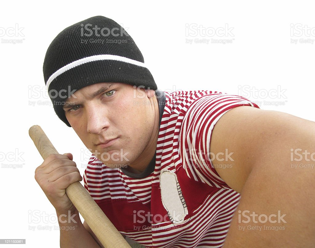 Hooligan bully strong violent man stock photo
