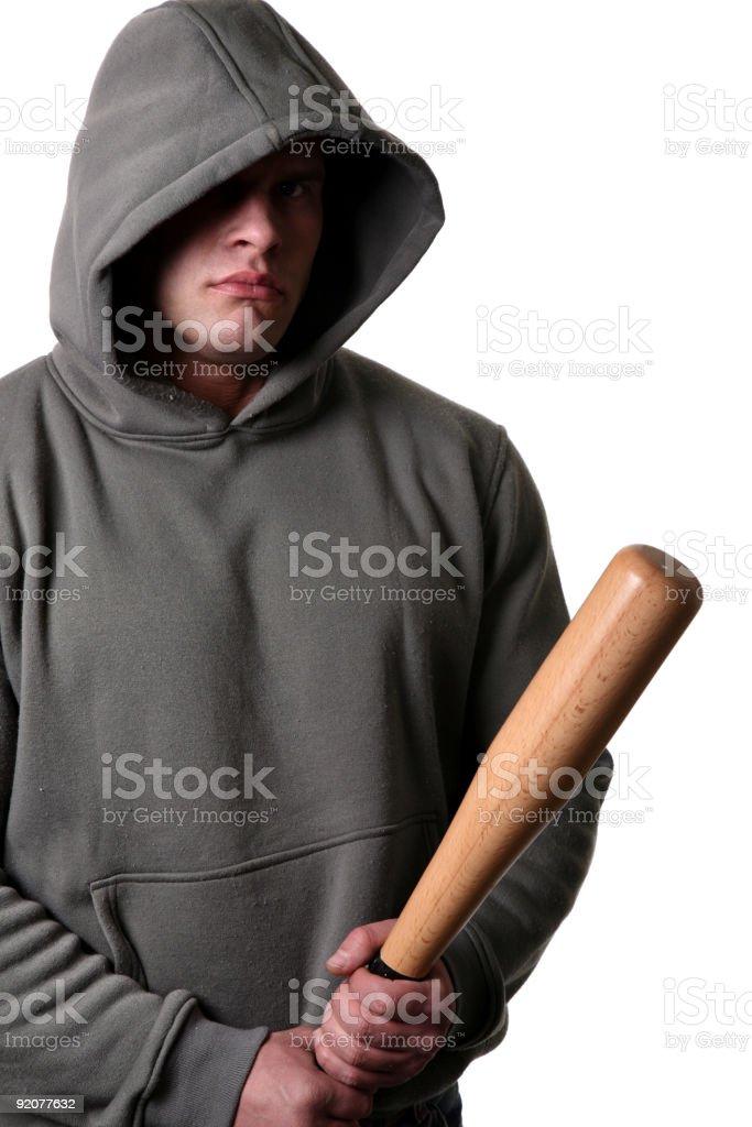 Hooligan with baseball bat royalty-free stock photo