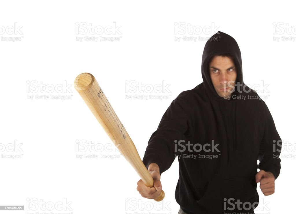 Hooligan with bat royalty-free stock photo