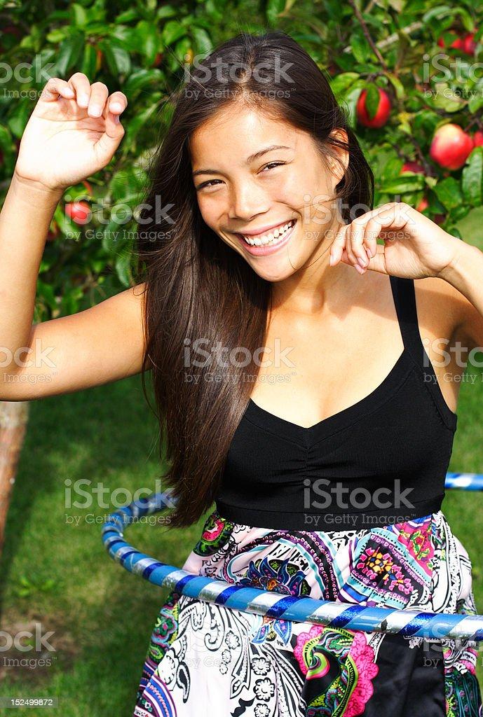 Hooping fitness plastic hoop royalty-free stock photo
