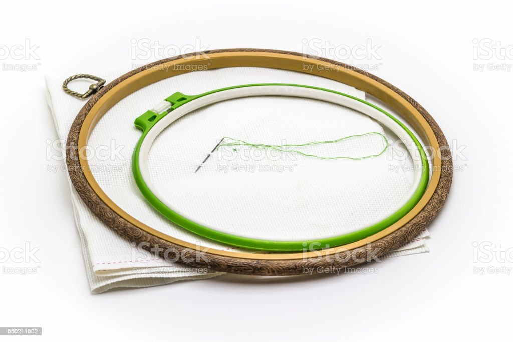 Hoops for embroidery cross stock photo