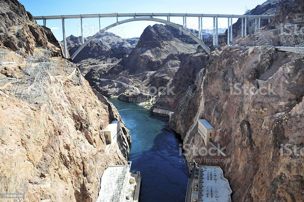 Hoover Dam and Mike O'Callaghan Pat Tillman Memorial Bridge royalty-free stock photo