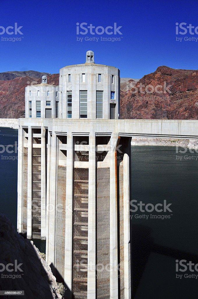 Hoover Dam, Arizona / Nevada state border - intake towers royalty-free stock photo