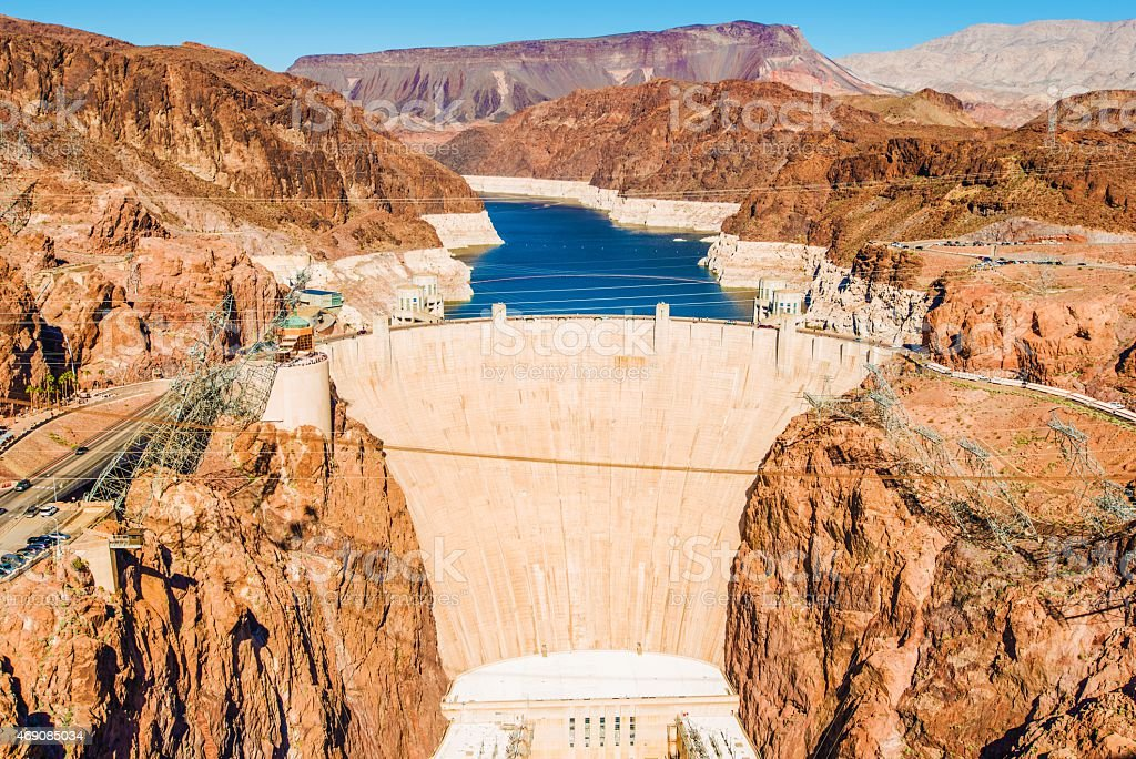Hoover Dam at Lake Mead stock photo