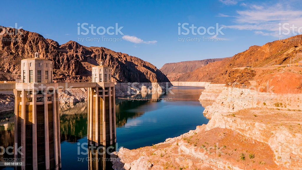 Hoover Dam at Nevada and Arizona Lizenzfreies stock-foto