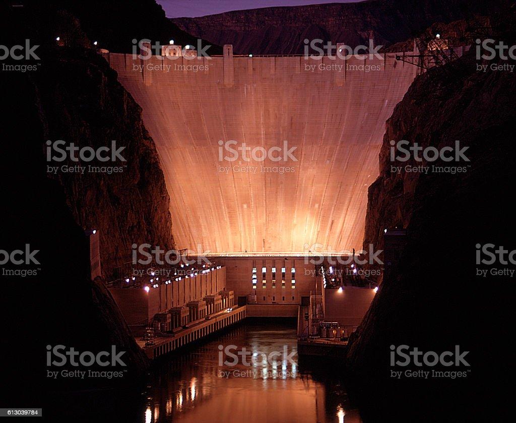 Hoover Dam at night stock photo