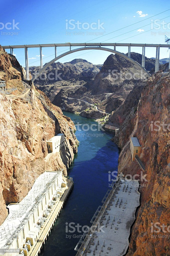 Hoover Dam Bypass Bridge and the Colorado River royalty-free stock photo