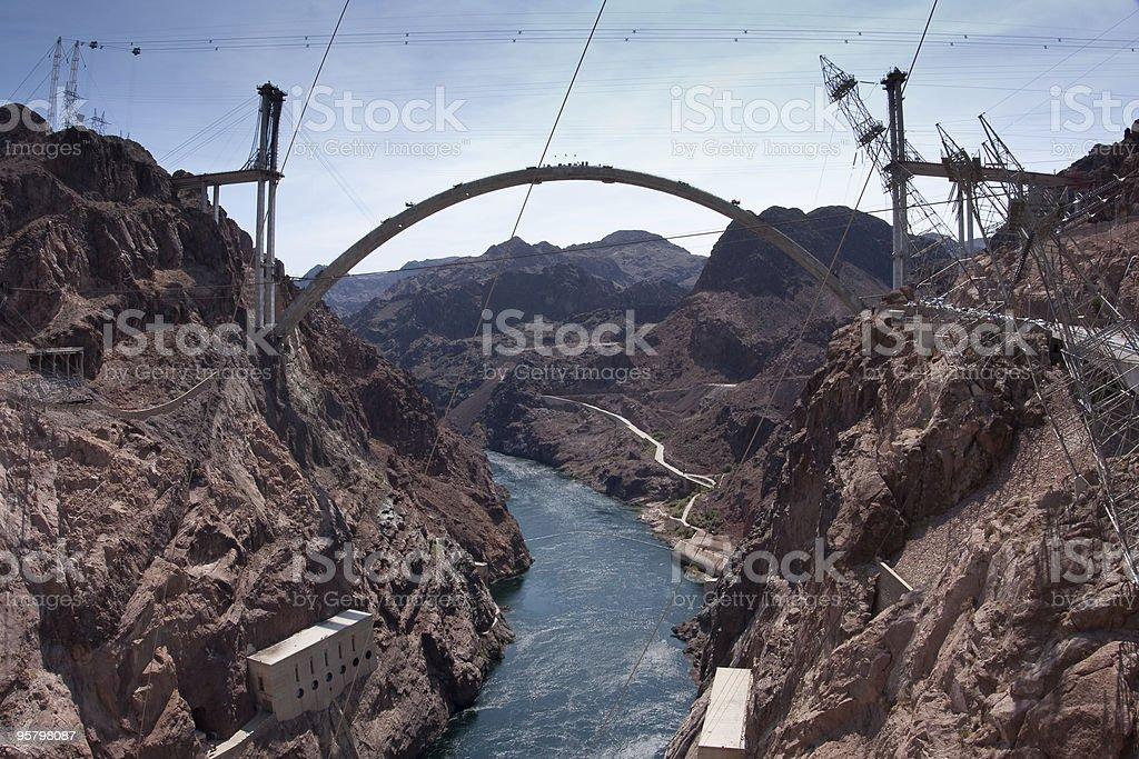 Hoover Dam Bypass Bridge Contruction stock photo