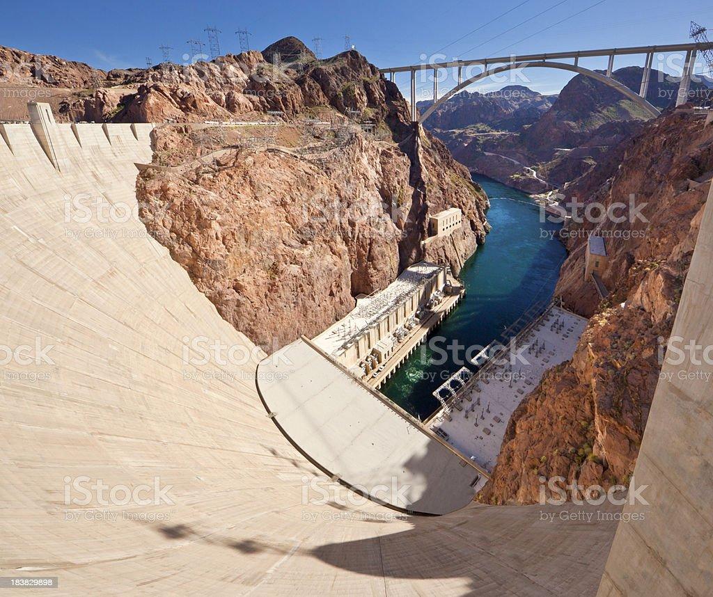 Hoover Dam & Colorado River Panorama stock photo