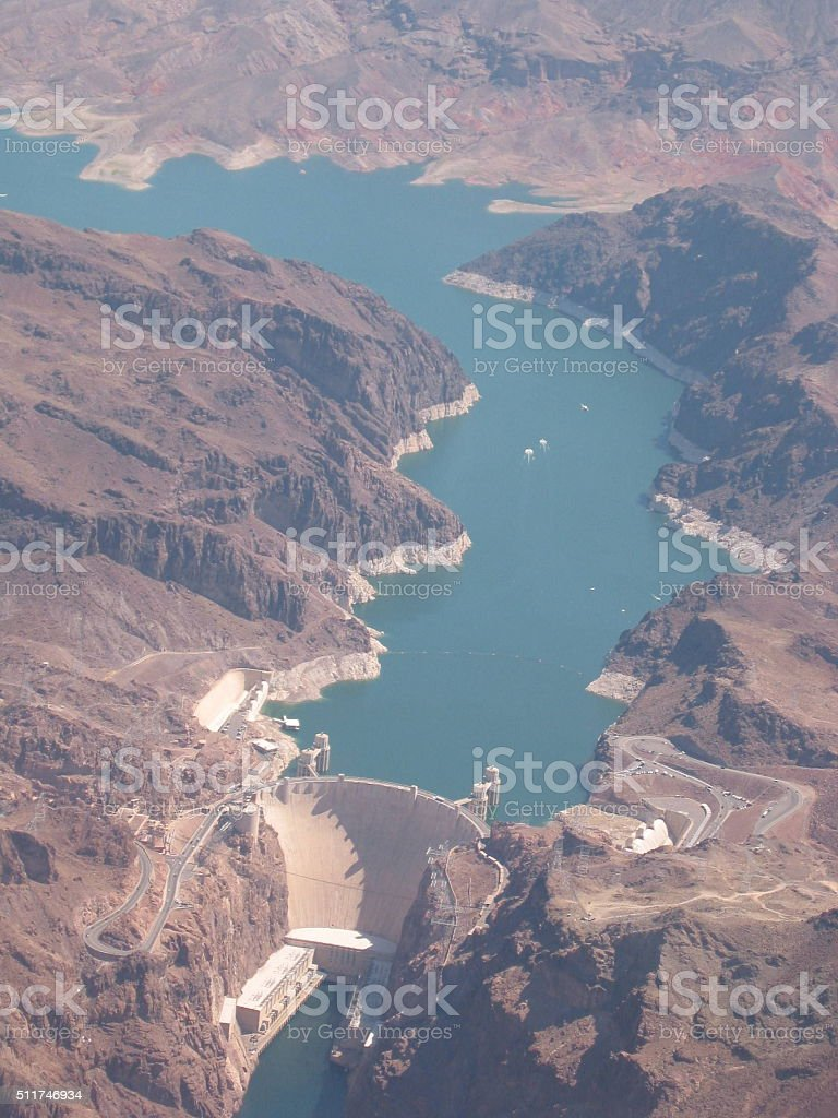 Hoover Dam from above stock photo