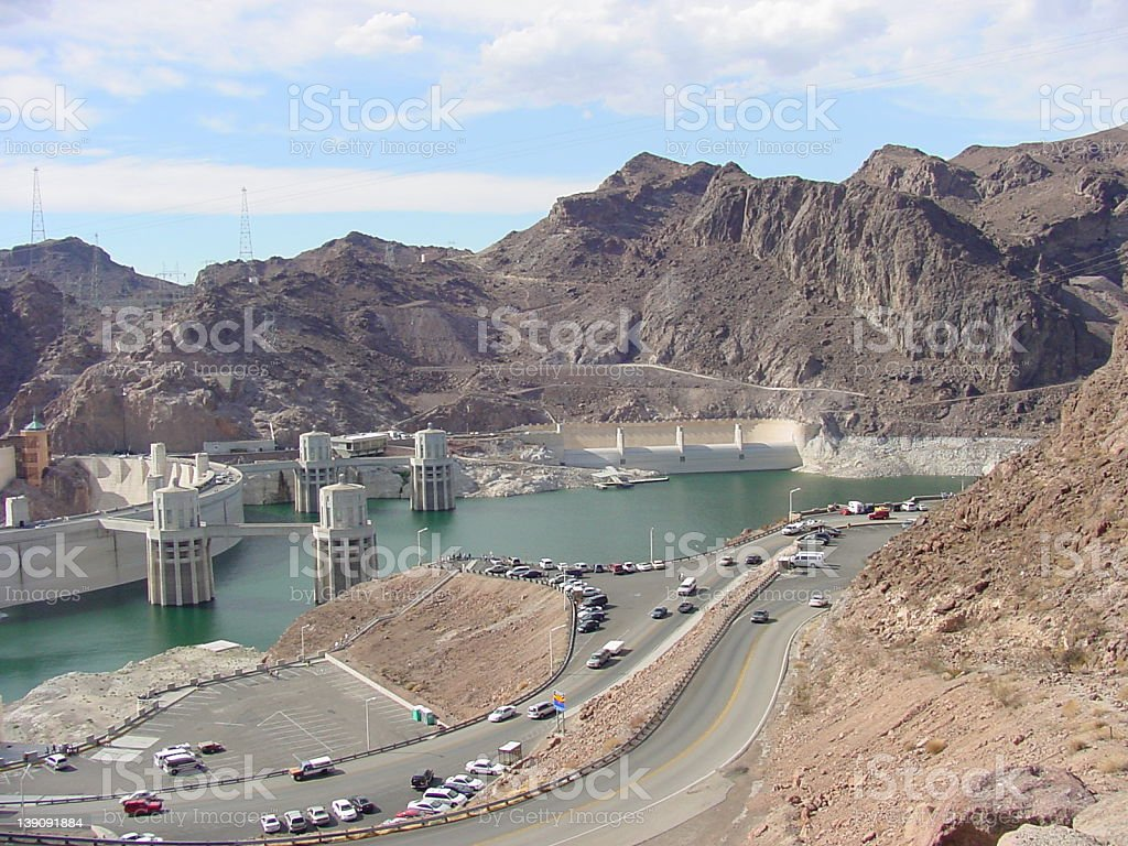 Hoover Dam from Colorado Clifftops stock photo