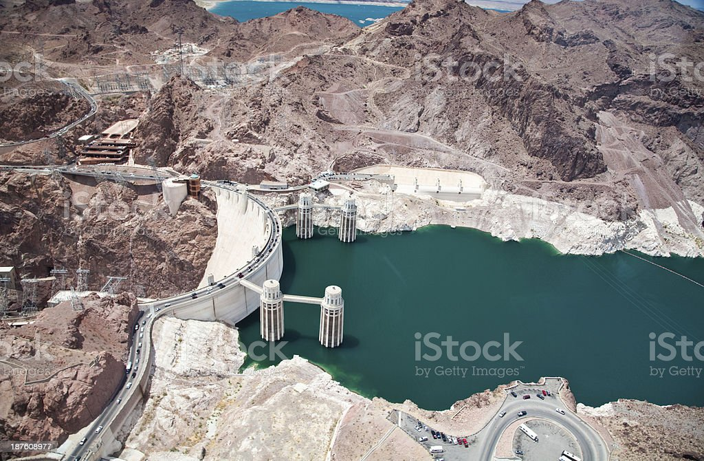 Hoover Dam in Arizona and Nevada stock photo