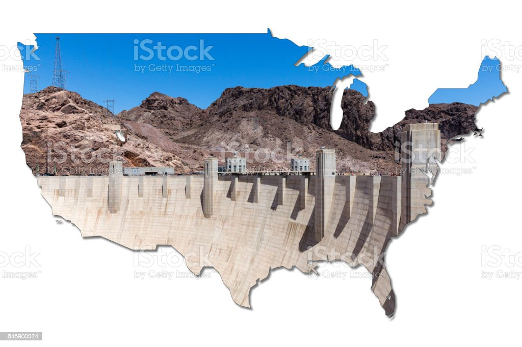 Hoover Dam in shape of the USA stock photo