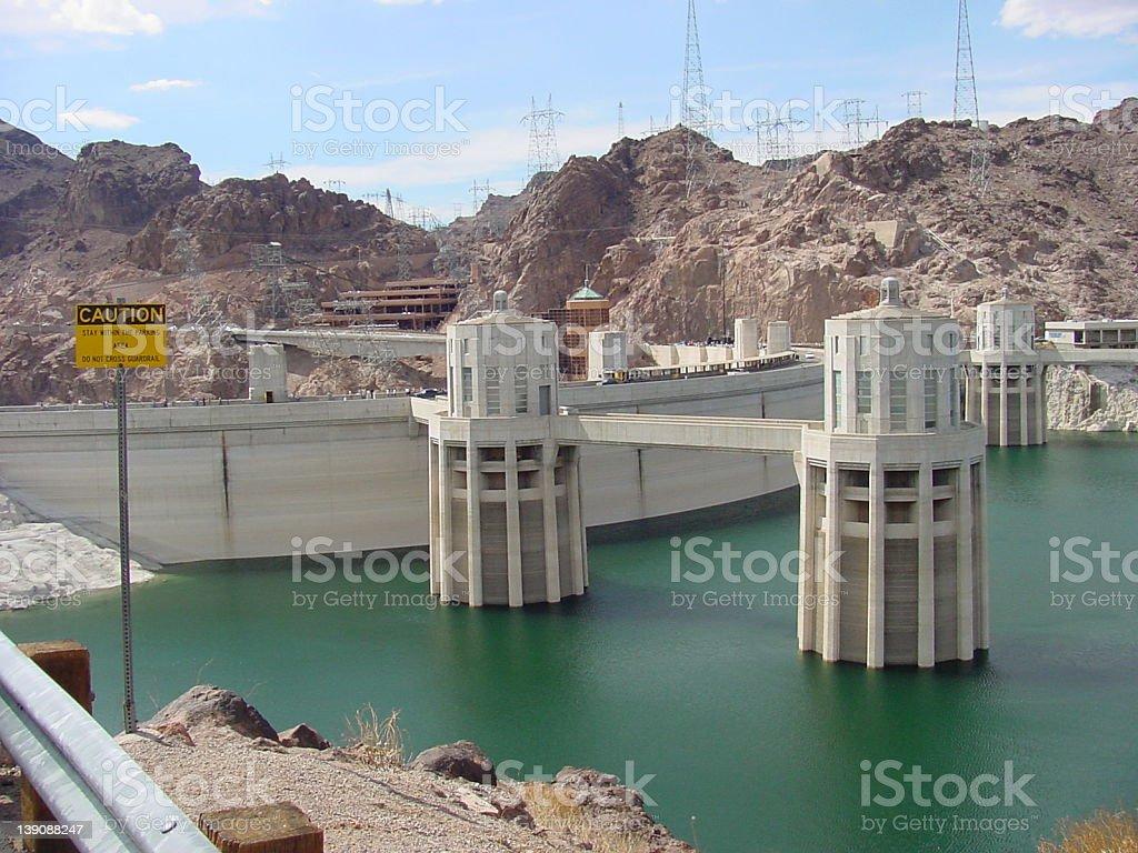 Hoover Dam & Intake Towers stock photo