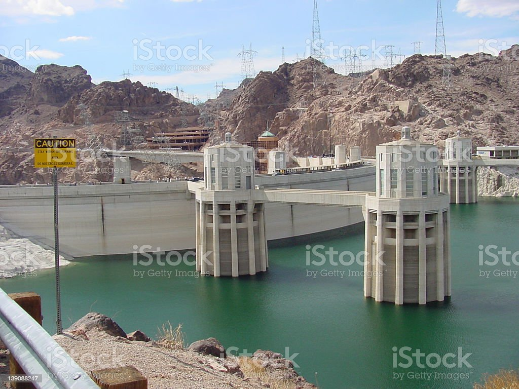 Hoover Dam & Intake Towers stock photo