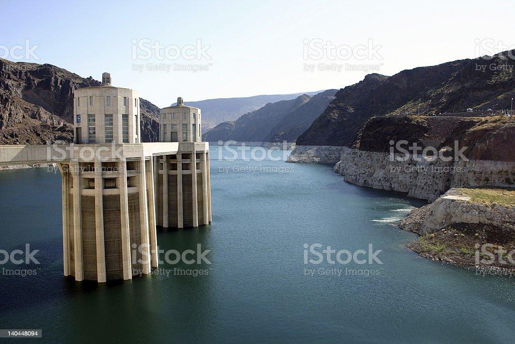 Hoover Dam - Intake Towers stock photo