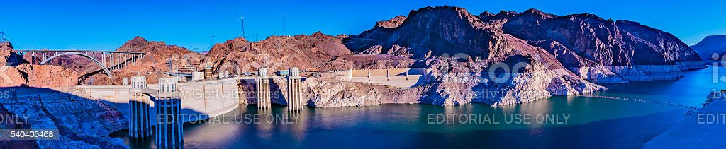 Hoover Dam, Lake Mead, O'Callaghan-Tillman Bridge Panorama stock photo