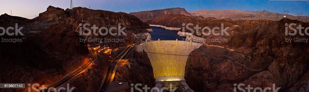 Hoover dam night panorama stock photo