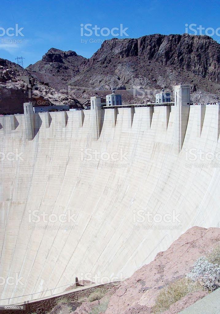 Hoover Dam on the border of Arizona and Nevada stock photo