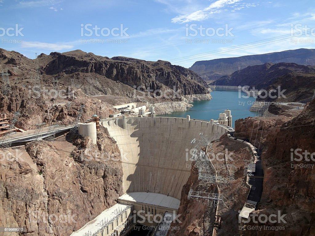 Hoover Dam overhead seen from Arizona side stock photo