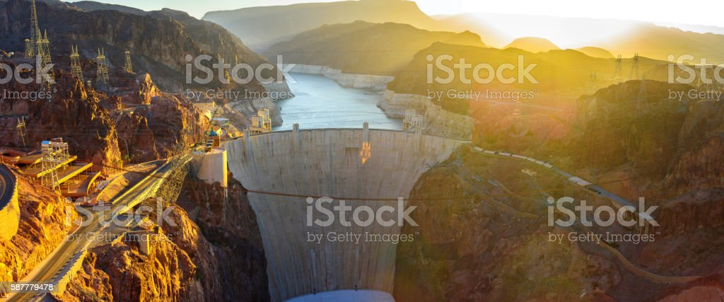 Hoover Dam Panorama stock photo