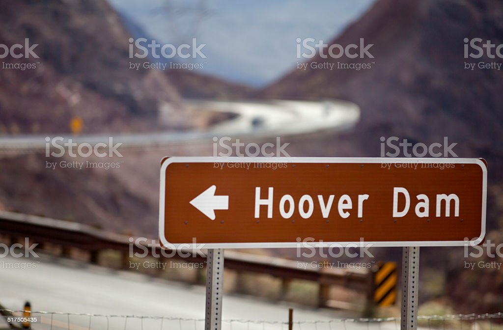 Hoover Dam (sign) stock photo