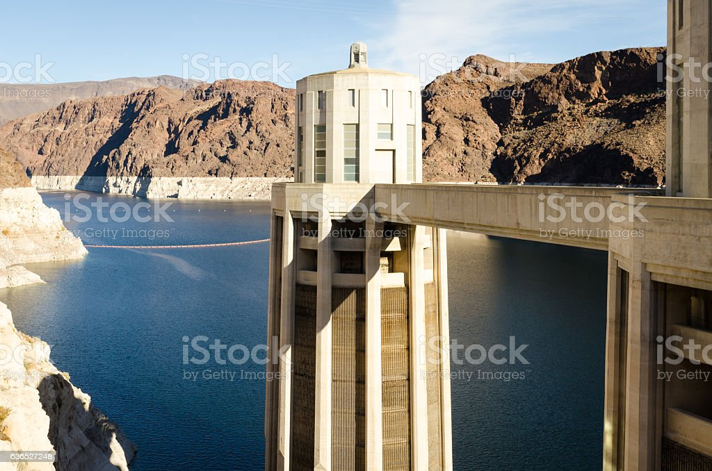 Hoover Dam Towers stock photo