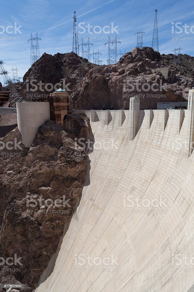 Hoover dam wall stock photo