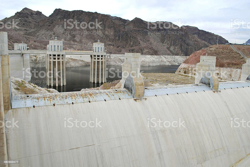 Hoover Dam's intake towers stock photo