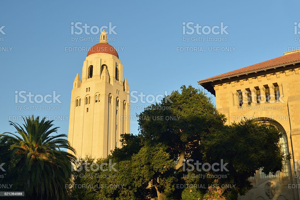 Hoover Tower in Stanford University at sunset stock photo