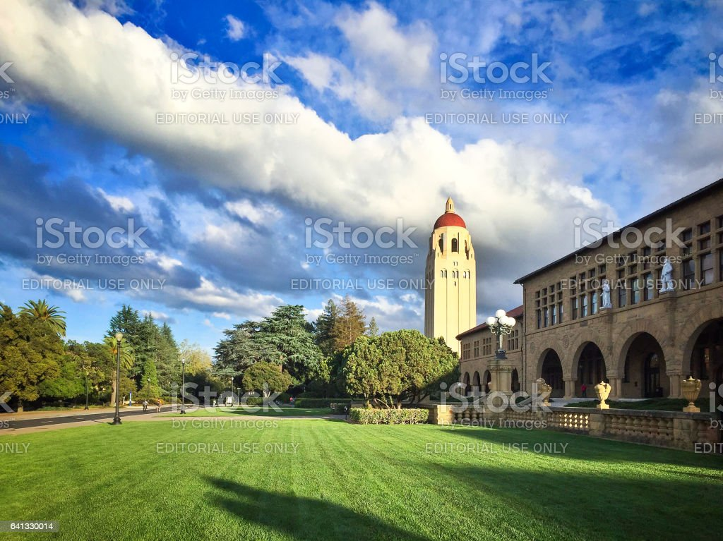 Hoover tower in Stanford University stock photo