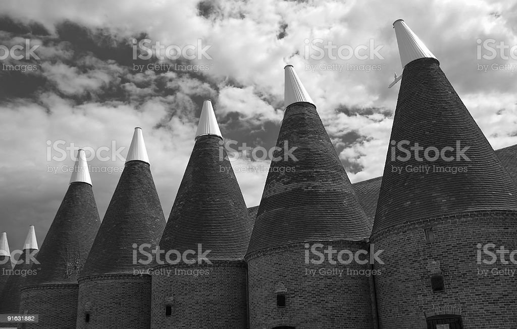 hop farm in black and white stock photo