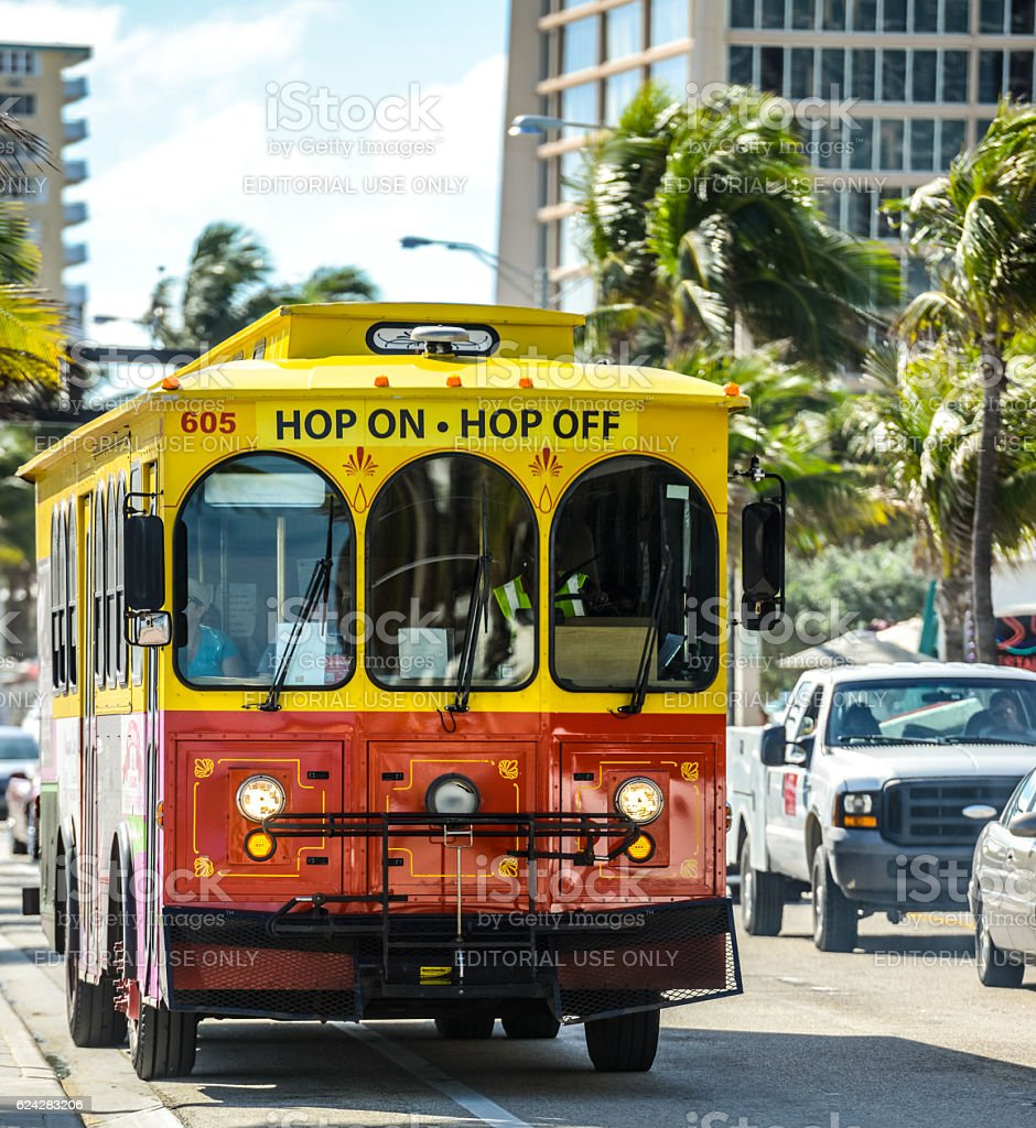 Hop On Hop Off sightseeing bus, Fort Lauderdale, USA stock photo