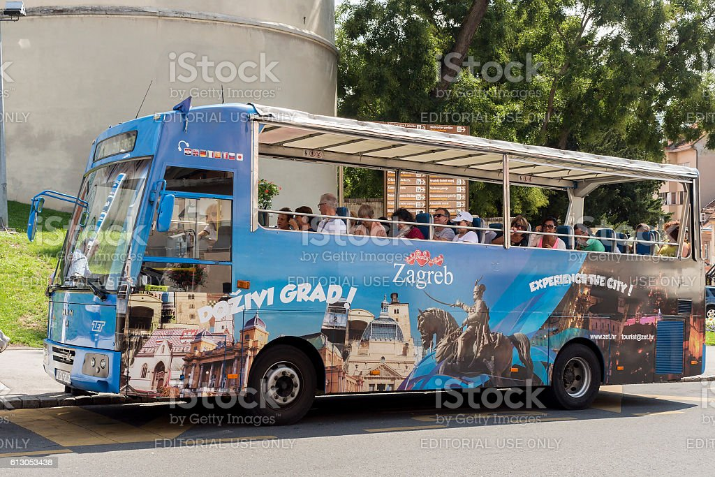 Hop on, hop off tourist bus in city of Zagreb stock photo