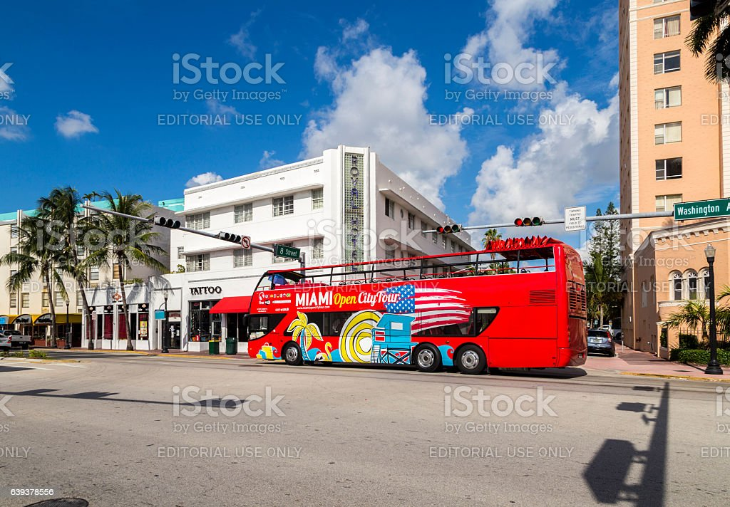 Hop on Hop off tourist bus in Miami stock photo