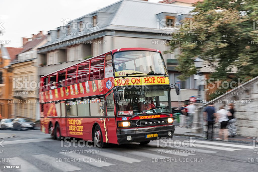 Hop on hop off touristic bus blurred in Budapest, Hungary. stock photo