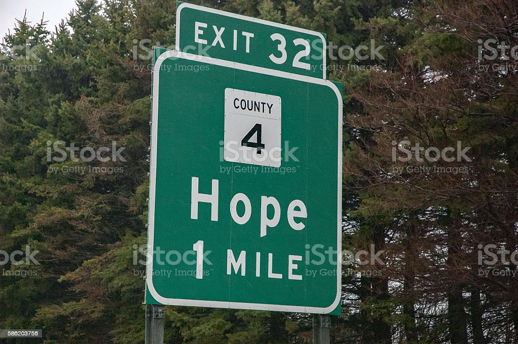 Hope Exit Sign stock photo