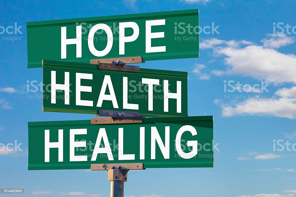 Hope, Health, Healing Street Sign stock photo