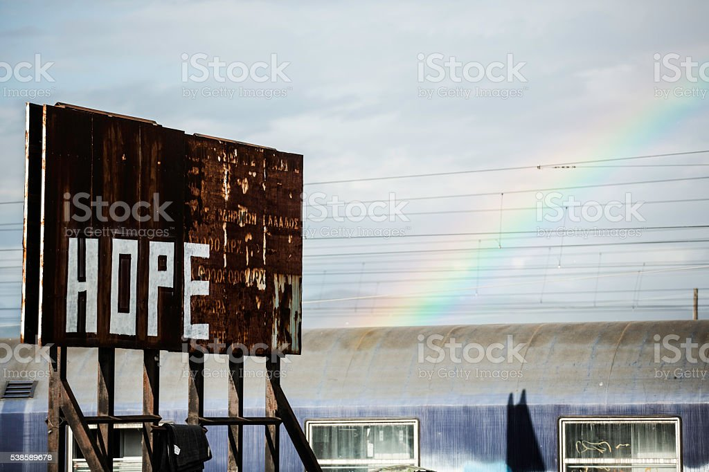 Hope - Idomeni refugee camp stock photo