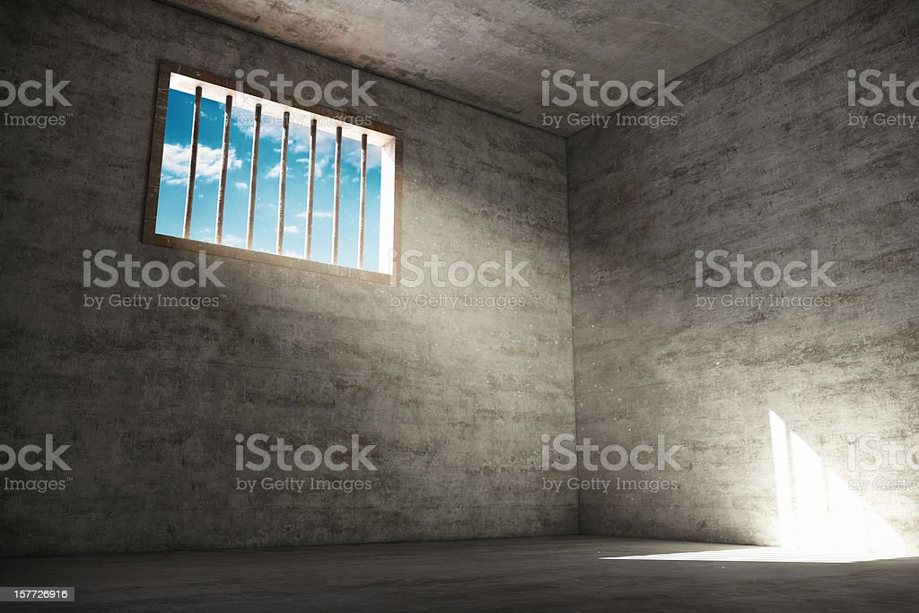 Hope in Prison Cell stock photo