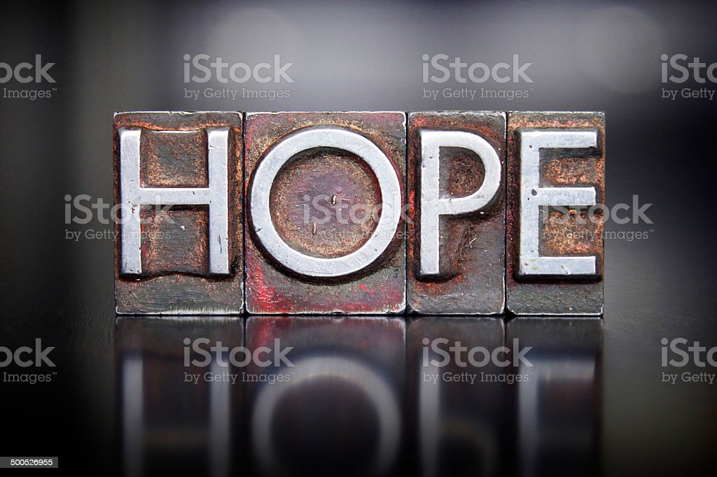 Hope Letterpress stock photo