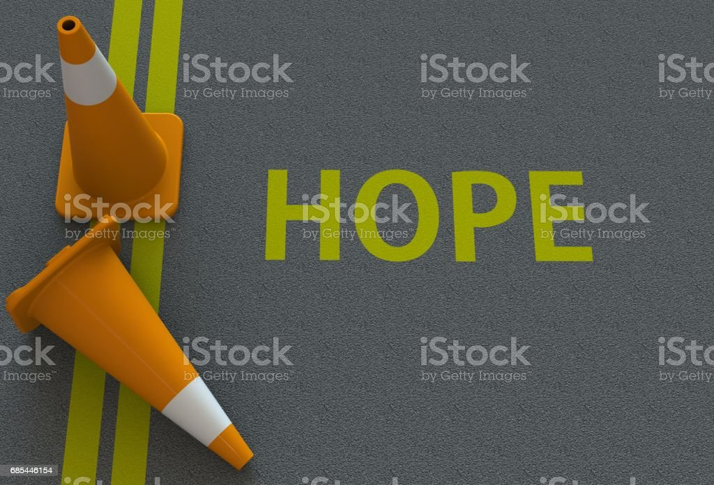 Hope, message on the road stock photo
