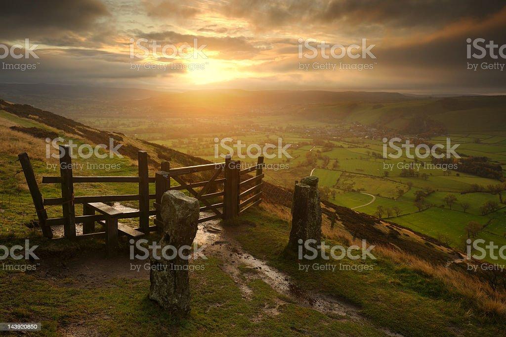 Hope Valley Sunrise, Peak District stock photo