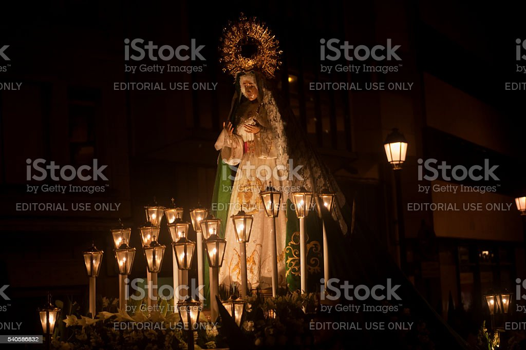 Hope Virgin, night Holy Week parade, Galicia, Spain.. stock photo