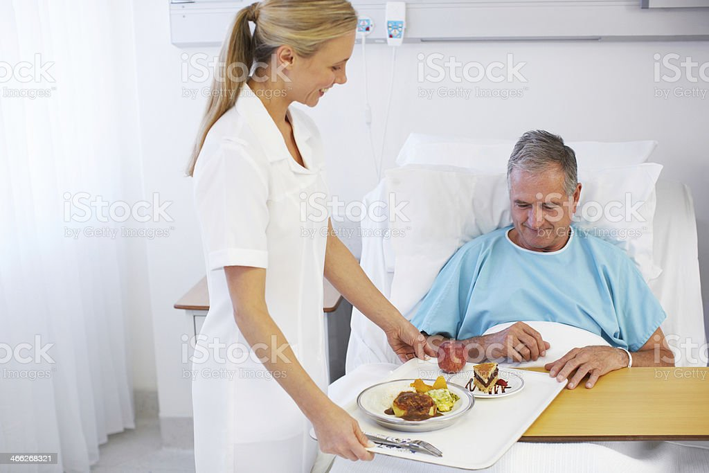 I hope you enjoy your meal, sir stock photo