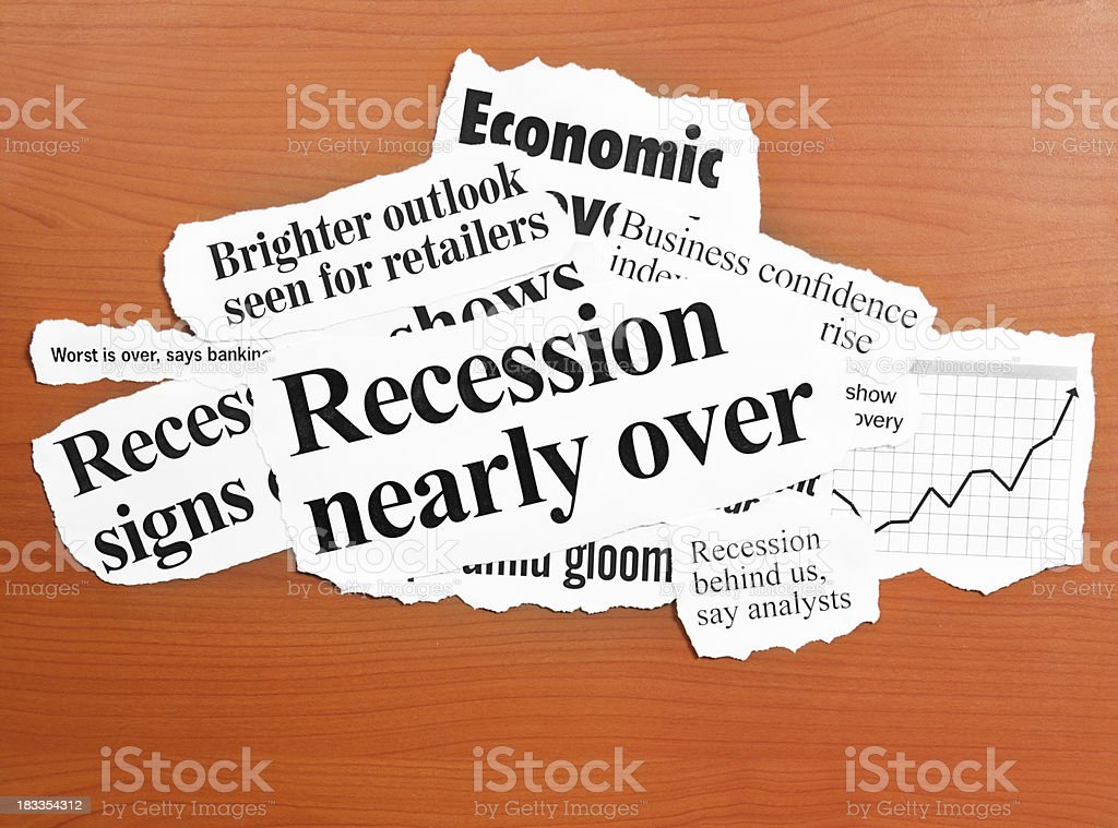 Hopeful headlines announcing coming end of the recession royalty-free stock photo