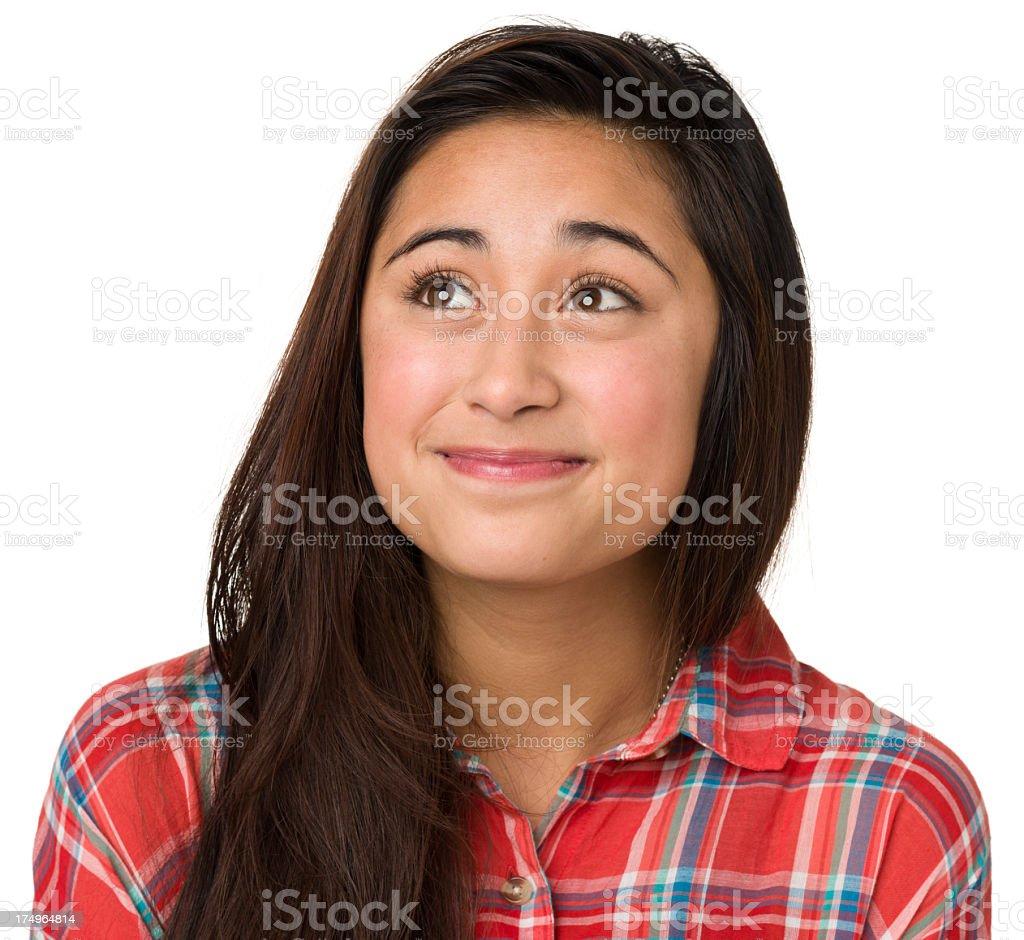 Hopeful Teenage Girl Looking Up royalty-free stock photo