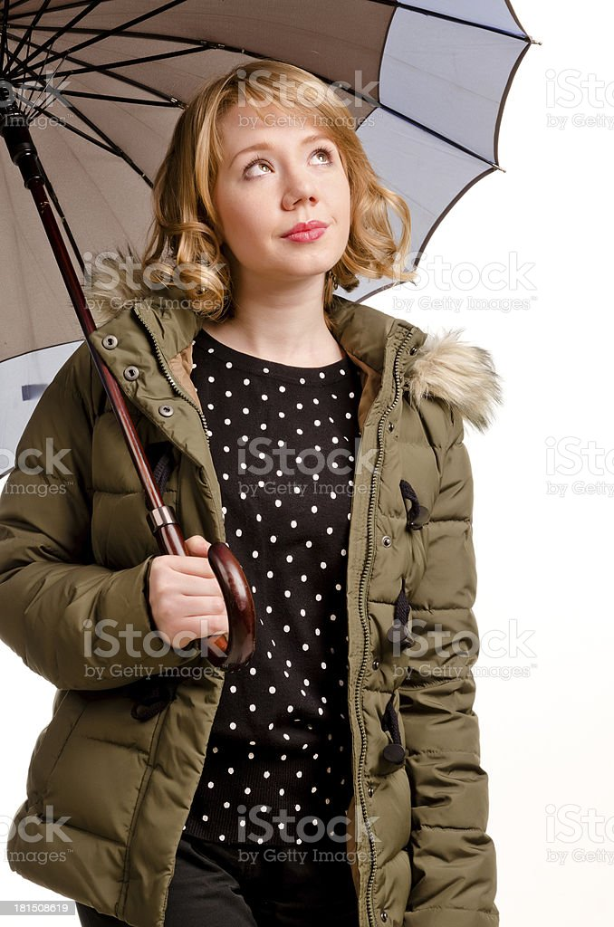 Hopeful woman checking out the weather royalty-free stock photo